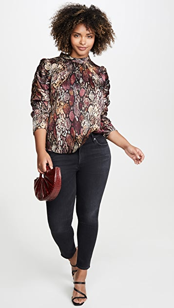 Rebecca Taylor Long Sleeve Snake Mock Top