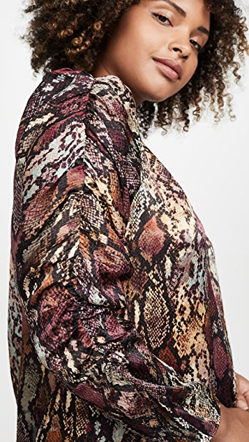 Rebecca Taylor Long Sleeve Snake Mock Top