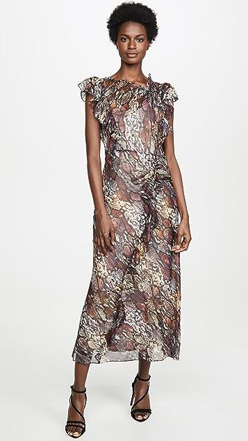 Rebecca Taylor Платье с оборками и рисунком под змею