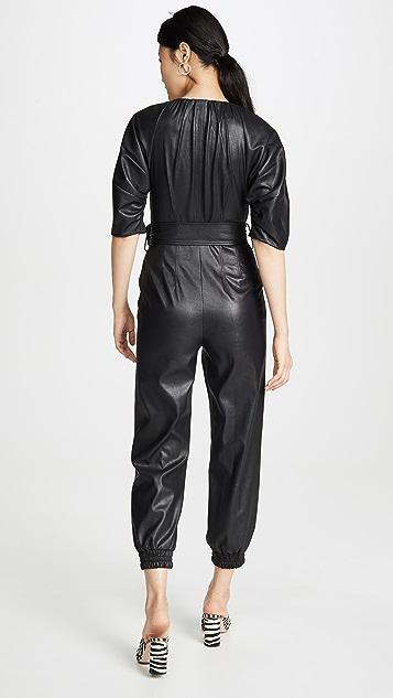 Rebecca Taylor Short Sleeve Vegan Leather Jumpsuit