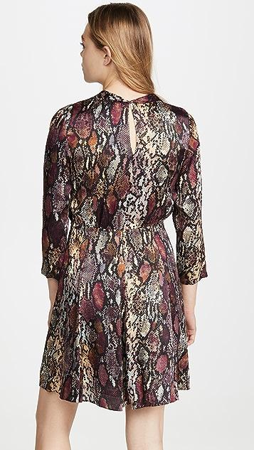 Rebecca Taylor Long Sleeve Snake Silk Dress