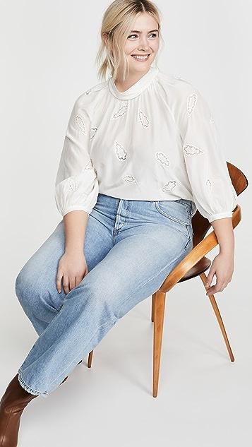Rebecca Taylor Long Sleeve Applique Top
