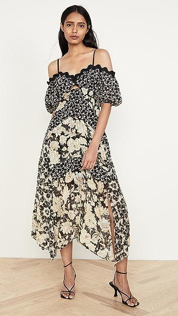 Rebecca Taylor Платье с комбинированным принтом и открытыми плечами