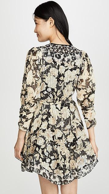 Rebecca Taylor Long Sleeve Print Mix Dress