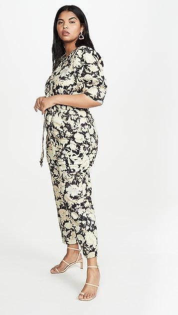 Rebecca Taylor 短袖金色叶子图案连身衣