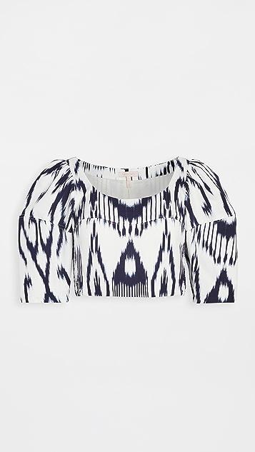 Rebecca Taylor Long Sleeve Ikat Linen Top