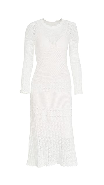 Rebecca Taylor Long Sleeve Pointelle Dress