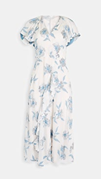 Rebecca Taylor Short Sleeve Metallic Fleur Dress