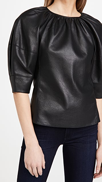 Rebecca Taylor 3/4 Sleeve Vegan Leather Blouse