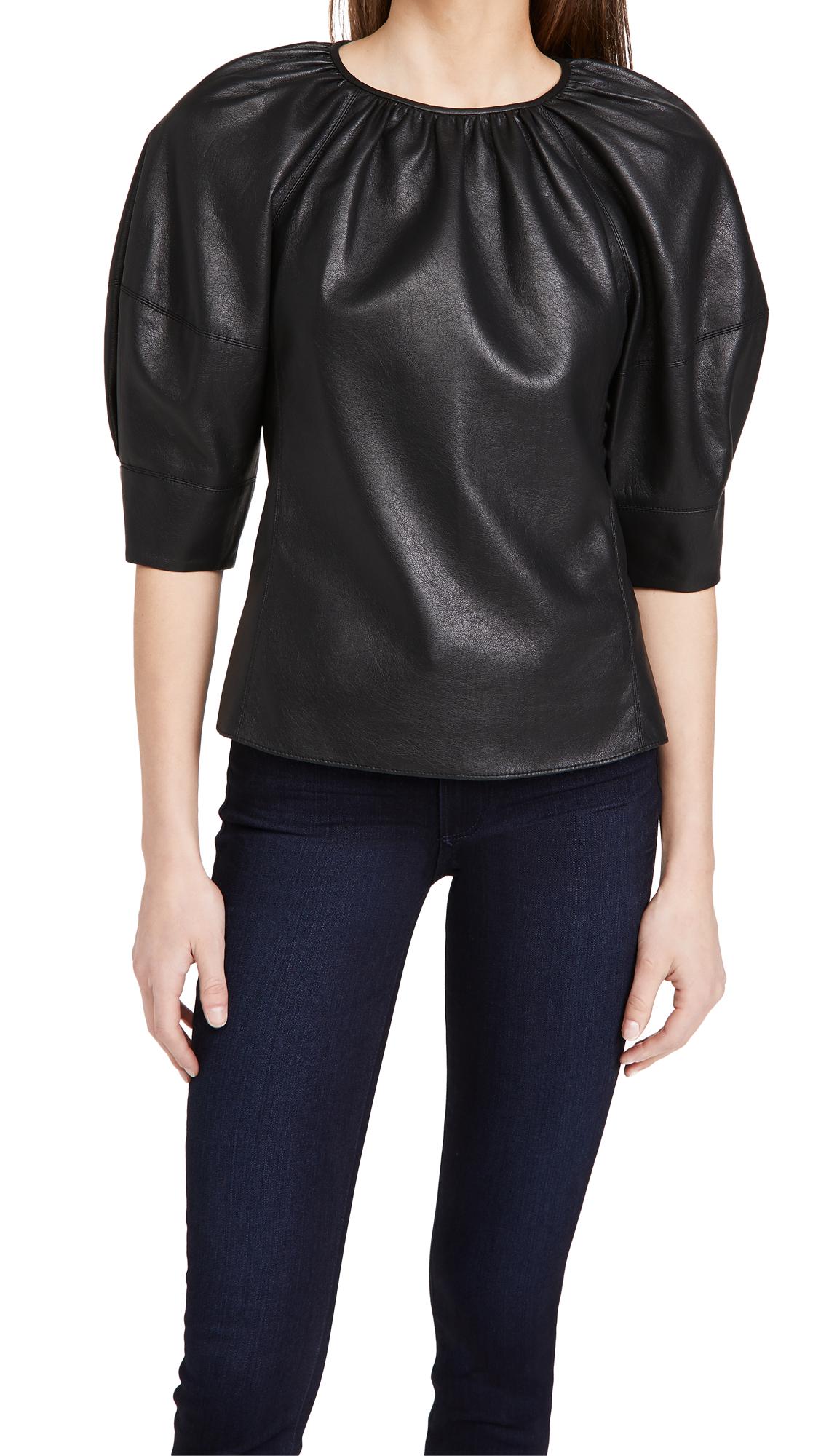 Rebecca Taylor 3/4 Sleeve Vegan Leather Blouse