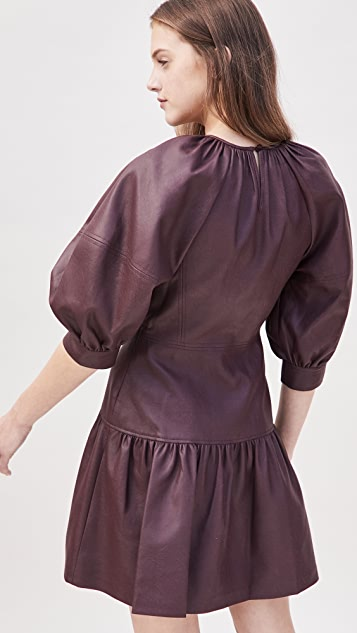 Rebecca Taylor 3/4 Sleeve Vegan Leather Dress
