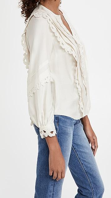 Rebecca Taylor 刺绣真丝长袖女式衬衫