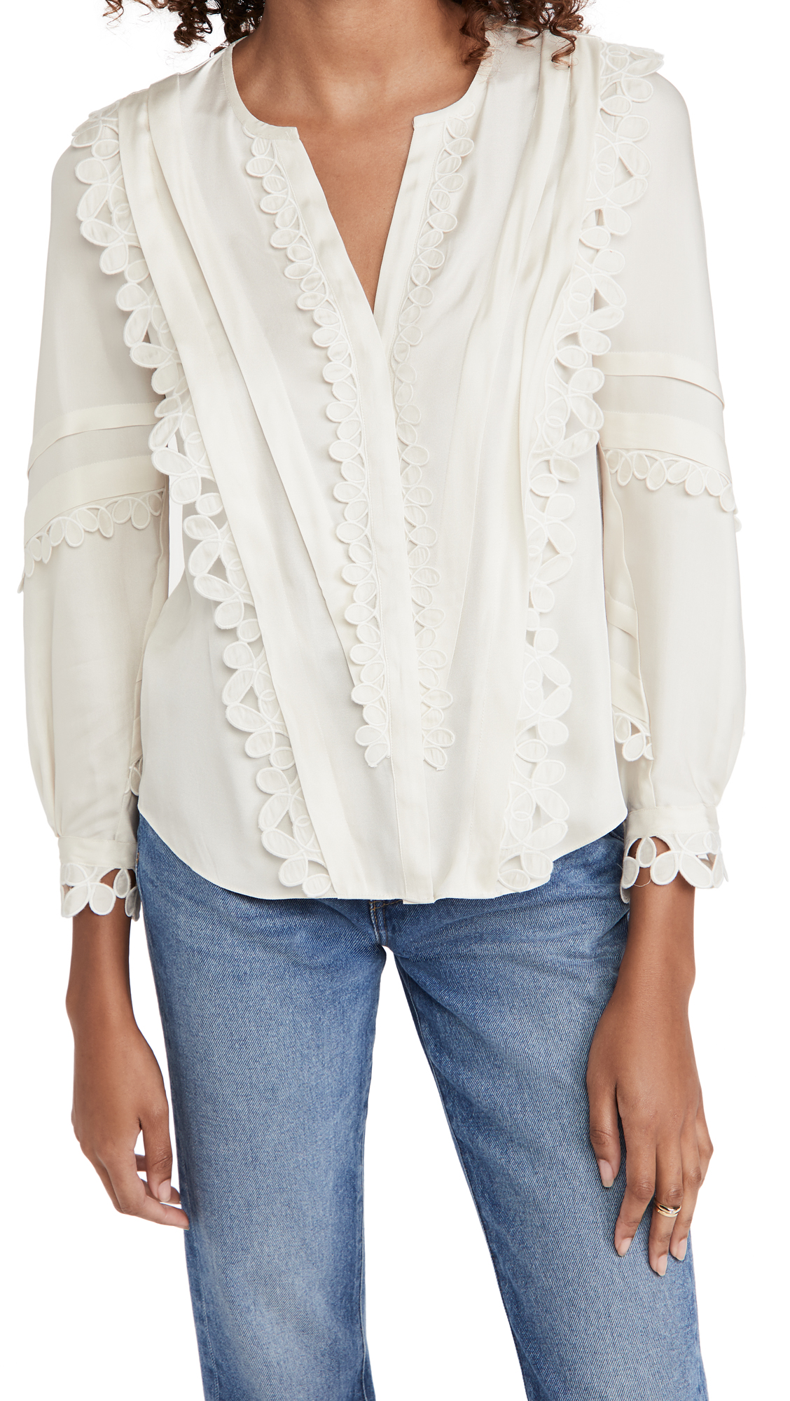 Rebecca Taylor LONG SLEEVE EMBROIDERED SILK BLOUSE