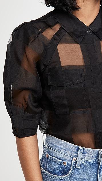 Rebecca Taylor 3/4 Sleeve Organza Check Blouse