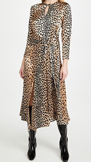 Rebecca Taylor Long Sleeve Leopard Tie Dress