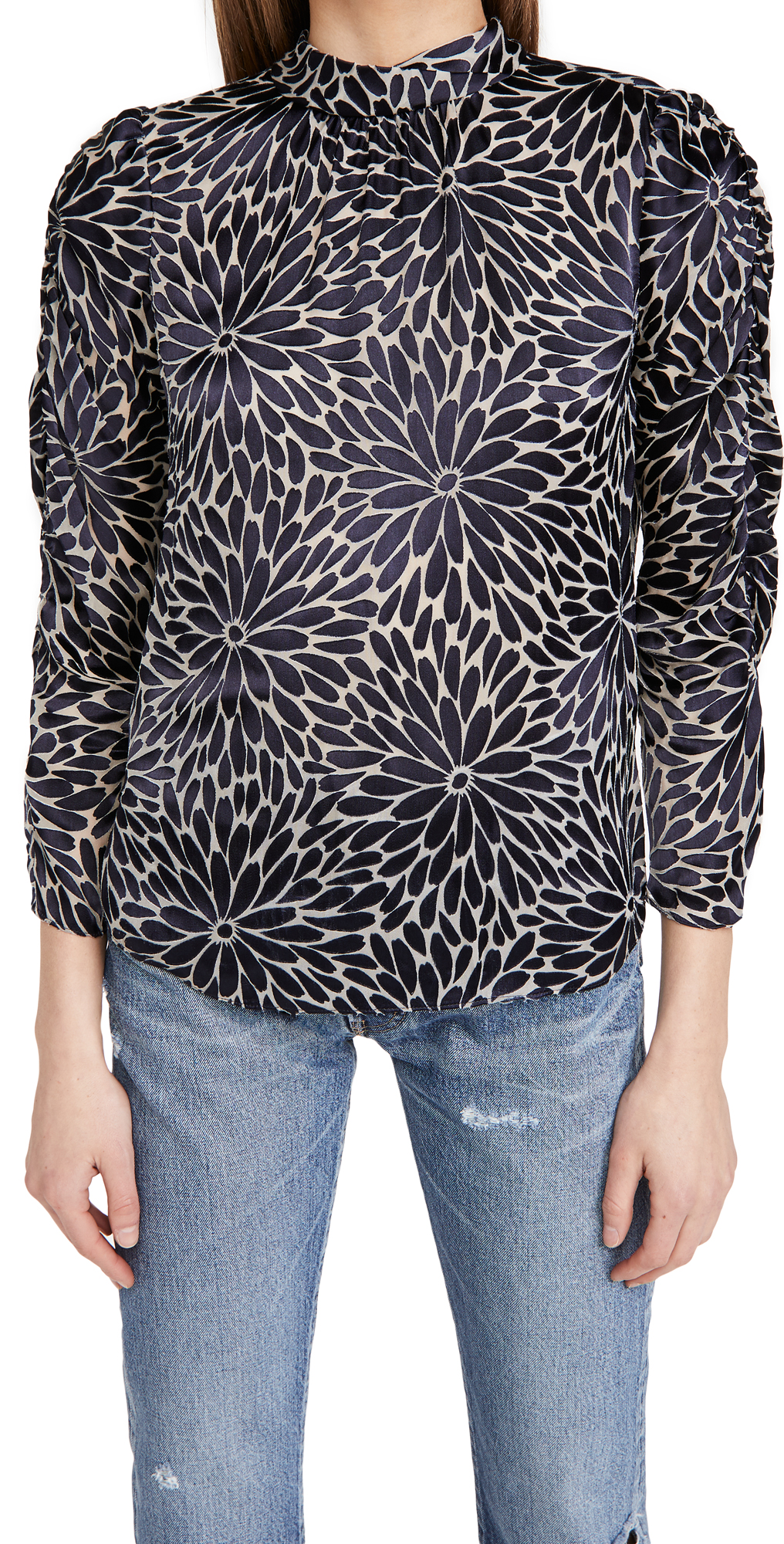Rebecca Taylor Long Sleeve Autumn Bloom Mock Top