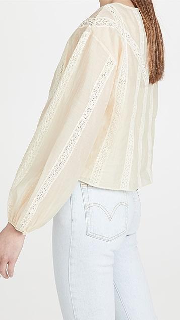 Rebecca Taylor Long Sleeve Cotton Organza Blouse