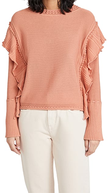 Rebecca Taylor Pointelle Quilt Pullover
