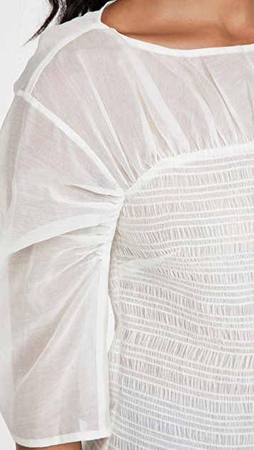 Rebecca Taylor 长袖抽褶透明硬纱女式衬衫