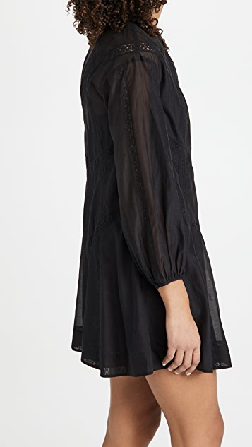 Rebecca Taylor 长袖棉质透明硬纱连衣裙