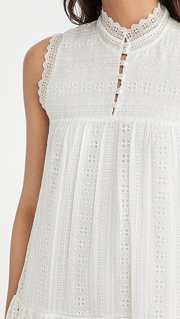 Rebecca Taylor Sleeveless Geo Embroidered Dress