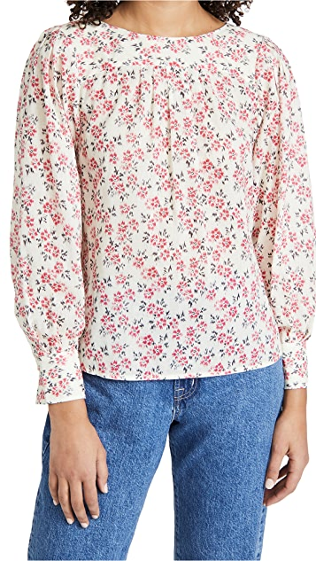Rebecca Taylor 扎染长袖鸢尾图案女式衬衫