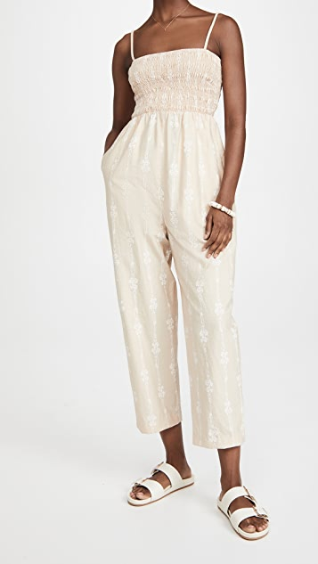 Rebecca Taylor Jumpsuit with Smocked Bodice