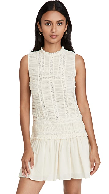 Rebecca Taylor Ruched Lace Dress