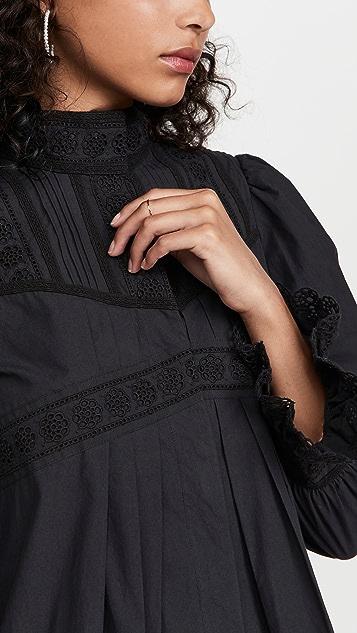 Rebecca Taylor Applique Lace Poplin Dress