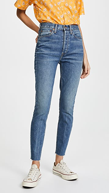 High Rise Ankle Crop Jeans by Re/Done