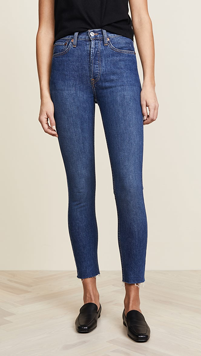 0b6c5aac857d RE DONE High Rise Ankle Crop Jeans