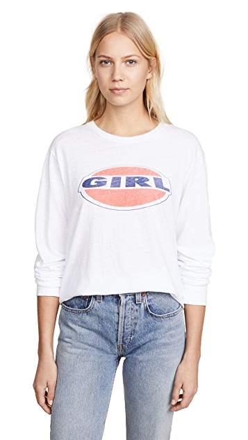 RE/DONE Long Sleeve Tee with Girl Graphic