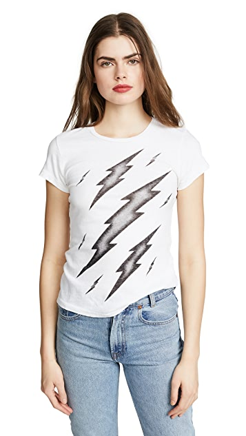 RE/DONE The Slim Black Thunder Bolts Graphic Tee