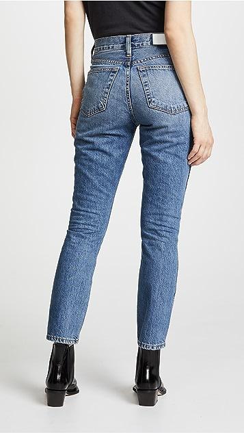RE/DONE Укороченные джинсы с двойной отстрочкой