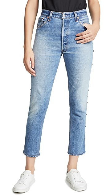 RE/DONE High Rise Ankle Crop Jeans with Studs