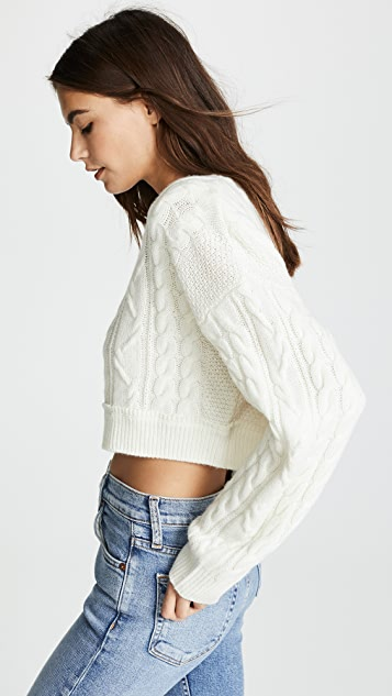 RE/DONE Cable Knit Crop Sweater