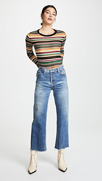RE/DONE High Rise Wide Leg Crop Jeans