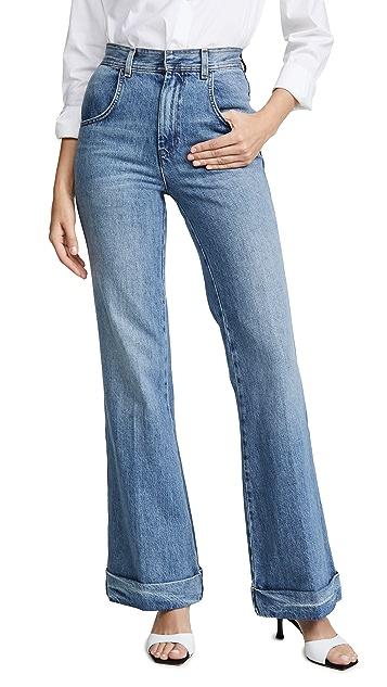 RE/DONE 70 年代复古风格超高腰翻边喇叭牛仔裤