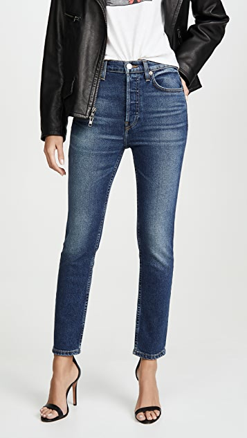 Re/done Jeans High Rise Ankle Crop Jeans