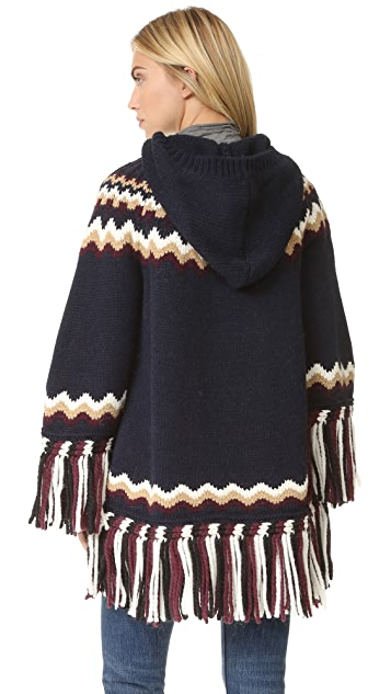 RED Valentino Hooded Fringe Sweater