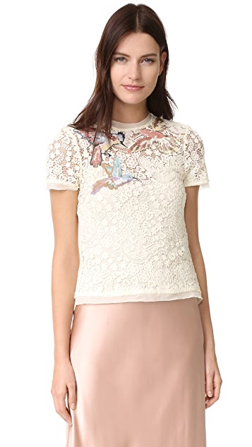 RED Valentino Embroidered Birds Tee