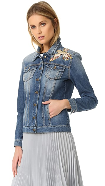 RED Valentino Embroidered Birds Denim Jacket