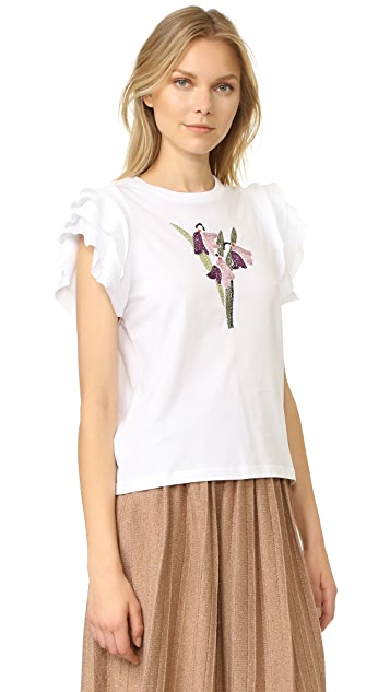 RED Valentino Embroidered Flower Tee
