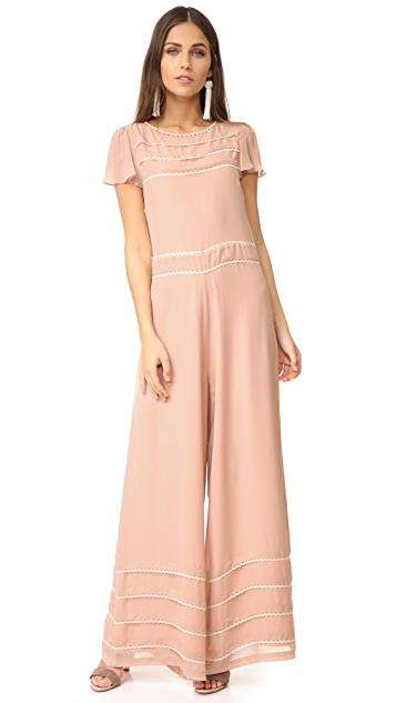 RED Valentino Wide Leg Embroidered Jumpsuit