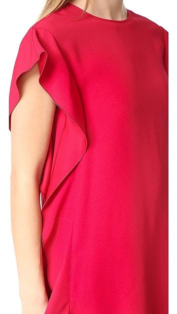RED Valentino Crepe Ruffle Dress