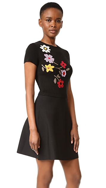 RED Valentino Floral Intarsia Dress