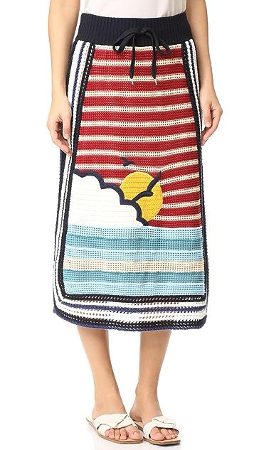 RED Valentino Waves & Sun Knit Skirt
