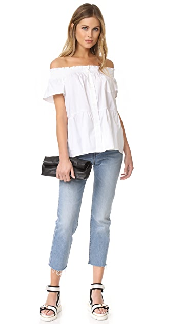 RED Valentino Poplin Off The Shoulder Blouse
