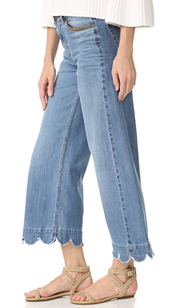 RED Valentino Stone Washed Scallop Hem Jeans