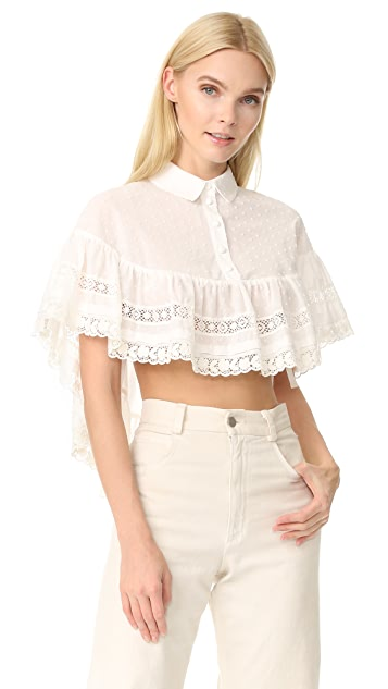 RED Valentino Crochet and Lace Blouse